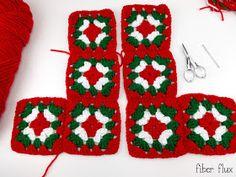 Ravelry: Nostalgic Granny Square Stocking pattern by Fiber Flux / Jennifer Dickerson Crochet Christmas Wreath, Crochet Christmas Stocking Pattern, Crochet Stocking, Crochet Christmas Decorations, Crochet Gifts, Granny Square Crochet Pattern, Crochet Granny, Blanket Crochet, Crochet Stitches