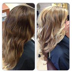 Brown blonde hair, brown to blonde hair before and after, love hair, gorg.