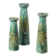 Troplical Leaf Ceramic Jars (Set of 3)