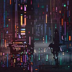 Science Fiction and Fantasy Pixel Art GIFs by Waneella Pixel Art Gif, Pixel Art Games, 8 Bits, Vaporwave, Animation Pixel, Cyberpunk, Science Fiction, Pixel Art Background, Creepy