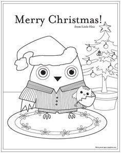 Merry Christmas, Little Hoo! Coloring Page