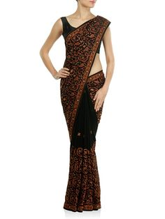 Zeeia.com £69 Black Georgette Saree with Kashmiri Thread Embroidery, Sequins and Stones. Teamed with heavy matching unstitched georgette blouse