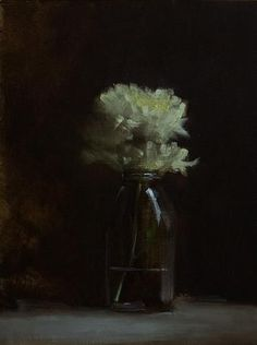 Neil Carroll Original Oil Painting Realism Still Life Bottle of Mums