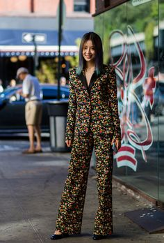 I would totally wear these as separates. I don't know if I'll have the balls to wear it as a pantsuit! Also, I love her hair. New York Fashion Week Street Style Spring 2017: The Best Moments from NYFW | StyleCaster