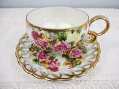 Royal Sealy Pink Rose Floral Bone China Teacup and Saucer