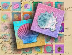 Colorful Seashells on Vintage Postcards 1 by DigitalPerfection, $4.00