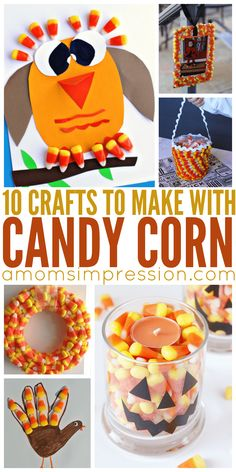 Fun and creative crafts to DIY this fall season using candy corn. These are adorable!