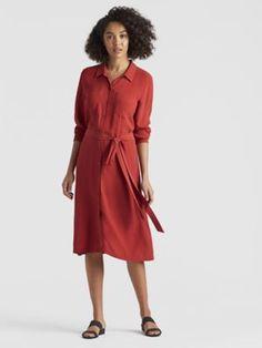 Silk Georgette Crepe Shirt Dress-S8GC-D4203