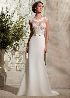 Elegant Organza & Chiffon Jewel Neckline Natural Waistline A-line Wedding Dress With Venice Lace Appliques