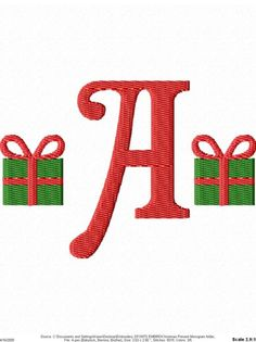 Christmas Present Machine Embroidery Monogram Font Set via Etsy