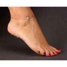 Cross Anklet / Rose Gold Anklet / Sideways Cross / by OlizzJewelry Rose Gold Anklet, Silver Anklets, Rose Gold Jewelry, Turquoise Jewelry, Gold Jewellery, Silver Ring, Anklet Jewelry, Anklet Bracelet, Jewlery