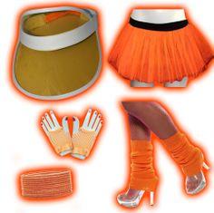 Kit - Accessoires 80's - Orange fluo (pour 1 personne)