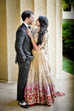 Fusion wedding, cream and pink lehenga - Modern Wedding Dresses Pinterest, Best Wedding Dresses, Wedding Suits, Wedding Attire, Wedding Gowns, Indian Bridal Wear, Pakistani Bridal, Bridal Outfits, Bridal Dresses