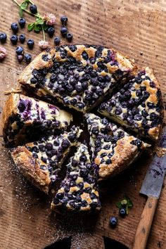 The prettiest simple Blueberry Basque Cheesecake.flaky puff pastry crust surrounding the creamy cheesecake filling, topped with fresh summer blueberries! Tiramisu Dessert, Frozen Puff Pastry, Half Baked Harvest, Cupcakes, Pastel, Salty Cake, Savoury Cake, Mini Cakes, Clean Eating Snacks