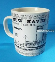 New Haven Steamboat Line Coffee Mug Elm City Boat Captain Lewis 10 Oz Cup
