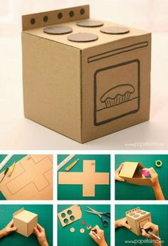 To wash - Diy Cardboard Toys Cardboard Kitchen, Cardboard Dollhouse, Cardboard Toys, Cardboard Furniture, Diy Crafts Cardboard, Doll House Cardboard, Cardboard Playhouse, Kids Crafts, Doll Crafts