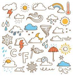 Set Of Weather Doodles Illustration