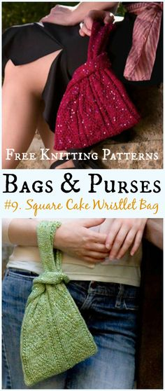 Square Cake Wristlet Bag Free Knitting Pattern - #Bags & Purses Free #Knitting Patterns