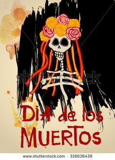 Dia de los Muertos (Day of the Dead) background with Skull and Flowers. Catrina Calavera with yellow Marigold flowers. Vector Illustration - stock vector