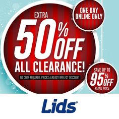 Lids : Extra 50% off Clearance  http://www.mybargainbuddy.com/lids-extra-40-off-clearance-2