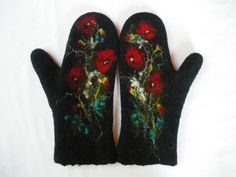 Felted Mittens Wool  Black  Red poppies Floral by LBFelt on Etsy, $34.00