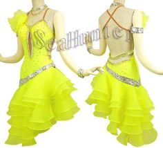 Ballroom Samba Cha Cha Ramba Latin Dance Dress US 6 UK 8 Yellow Skin Color | eBay