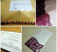 Order 50 Pcs dari Kebumen  Undangan bernuansa Merah tua dengan balutan amplop berwarna ke Emas an.