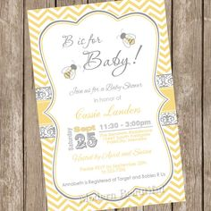 B is for baby bumble bee baby shower invitation, bee baby shower invitation, yellow and gray chevron invitation, bumble bee, printable