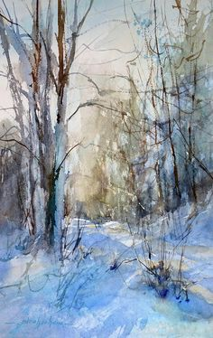 watercolor paintings of snow scenes Watercolor Trees, Watercolor Landscape, Abstract Landscape, Watercolor Paintings, Watercolour, Simple Oil Painting, Painting Snow, Large Painting, Landscape Artwork