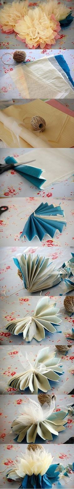 flowers made with tulle and fabric instead of tissue paper