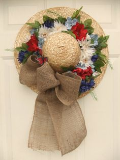 Red White and Blue Straw Hat/ Patriotic by AngiesSilkFlowers, $37.00
