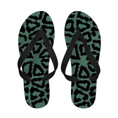 Mint Green Giraffe Skin Flip Flops