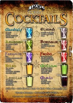 Lord of the Rings cocktails, for the next LOTR marathon
