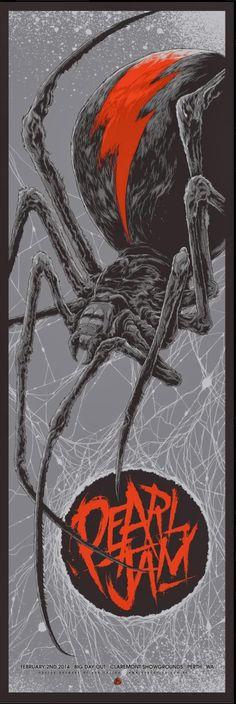 Pearl Jam Poster - Complete - 02/02/2014 - Perth - Australia - Art by Ken Taylor - Lightning Bolt Tour 2014