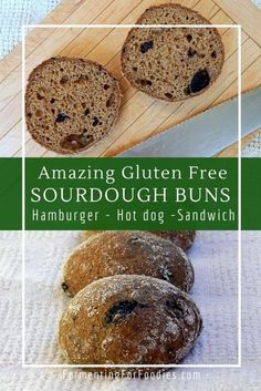This amazing gluten free sourdough buns recipe is perfect for hot dogs, hamburgers or sandwiches. Soft enough for a dinner roll, yet strong enough for sandwiches. It's my new favourite gluten free bread!  #glutenfreebread #glutenfreesourdough Healthy Gluten Free Recipes, Gluten Free Baking, Vegetarian Recipes, Sourdough Bun Recipe, Gluten Free Sourdough Bread, Gluten Free Hot Dogs, Dairy Free, Hot Dog Recipes, Bread Recipes