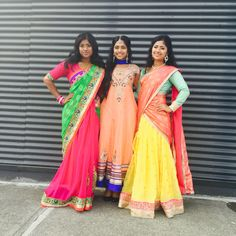 Saree, Anarkali, Half-Saree (from left to right) Indian wedding guest outfit ideas.