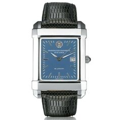 """Washington University in St. Louis Men's Swiss Watch - Blue Quad Watch by M.LaHart & Co.. $229.00. Attractive M.LaHart & Co. gift box.. Swiss-made quartz movement with 7 jewels.. Three-year warranty.. Officially licensed by Washington University in St. Louis. Classic American style by M.LaHart. Washington University in St. Louis men's steel watch featuring WUSTL seal at 12 o'clock and """"Washington University in St. Louis"""" inscribed below on blue dial. Swiss-made quar..."""