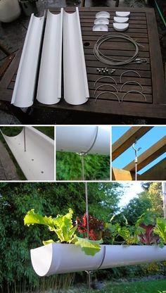 #garden : Hanging Gutter Garden