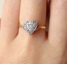 Antique Diamond Heart Engagement Ring, Vintage Diamond Heart Ring, Platinum and 18k Gold Diamond Heart Ring, Size US 6.75 / 7. $468.00, via Etsy. Heart Wedding Rings, Heart Engagement Rings, Vintage Engagement Rings, Diamond Heart, Heart Ring, Parts Of The Heart, Vintage Diamond, Solitaire Ring, Beautiful Rings