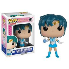 This is a Funko Sailor Moon POP Sailor Mercury Vinyl Figure. Standing inches tall, the Mercury POP Vinyl figure is super cute! It's great to see that the Sailor Moon characters finally got their Sailor Moon Luna, Sailor Chibi Moon, Sailor Uranus, Sailor Neptune, Sailor Mars, Sailor Mercury, Mercury Marine, Pop Vinyl Figures, Sailor Scouts