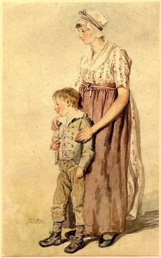 Study of a young woman and a boy; watercolor drawing from the collection of the British Museum.