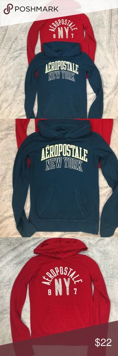 Aeropostale woman's hoodie sweatshirts size XS Aeropostale woman's hoodie sweatshirts size XS.  Very good condition.  One is teal and one is red. Aeropostale Tops Sweatshirts & Hoodies