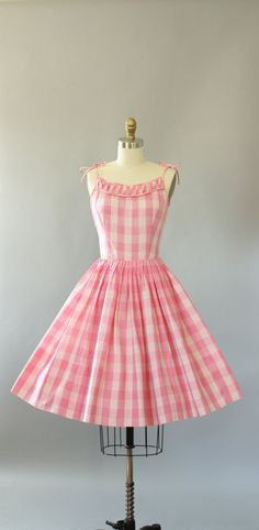 Vintage 50s Teena Paige pink and white checkered print cotton sundress. Spaghetti straps tie at shoulders. Full skirt. Metal zipper up back.