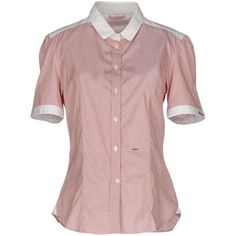 Peuterey Shirt ($115) ❤ liked on Polyvore featuring tops, pastel pink, short sleeve shirts, cotton short sleeve shirts, cotton shirts, pink striped shirt and pink short sleeve shirt