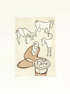 Paula Cox Elaborando queso de cabra, 2005 http://www.circulodelarte.com/es/obra/elaborando-queso-de-cabra/es    Aguafuerte y aguatinta en 1 color Formato de imagen: 41,5 x 29 cm Papel: Somerset Satín 75,5 x 57,5 cm Edición de 75 ejemplares numerados y firmados