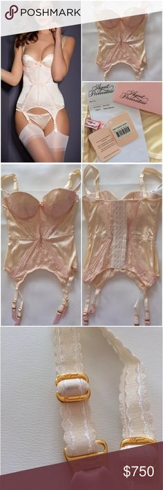 Agent Provocateur Gorgeous Corset Basque NWT Brand New with tags absolutely stunning, sexy,  seductive, Ivory & Pink Wedding/Bridal Basque by Agent Provocateur. Box included. Ivory/Oyster Pink/White Classic yet ravishing, the basque incorporates the cup shape of the Abbey bra: a smooth push-up style with removable pads, crafted from gorgeous cream silk. The cups & centre front panel are overlaid with French leavers lace in delectable oyster pink, boned panelling creates an hourglass figure…