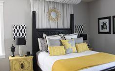 Серый и жёлтый в интерьере спальни