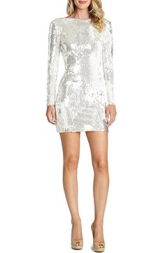 Free shipping and returns on Dress the Population 'Lola' Backless Sequin Minidress (Nordstrom Exclusive) at Nordstrom.com. A decadent array of sequins dazzle atop this svelte party dress styled with fitted long sleeves and a daring open back.