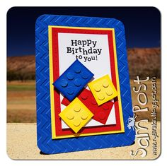 I think we are a bit like many other households with young boys, lotsa Lego love here! I am continuously tripping over the stuff too, . Lego Birthday Cards, Birthday Cards For Boys, Bday Cards, Handmade Birthday Cards, Greeting Cards Handmade, Birthday Kids, Happy Birthday, Birthday Wishes, Birthday Cakes