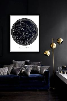 Vintage Constellation Poster PRINTABLE FILE - same price / 5 sizes, Celestial print, Stars art, Bedroom decor, Wall art, Dorm Room art